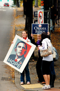 HOPE - Campaigning for Obama in Seattle 2008